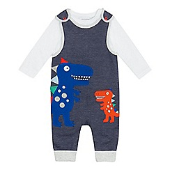 bluezoo - Baby boys' navy dinosaur applique top and dungarees set