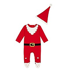 bluezoo - Baby boys' red Santa sleepsuit with a hat