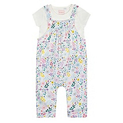 bluezoo - Baby girls' multi-coloured floral print dungarees and top set