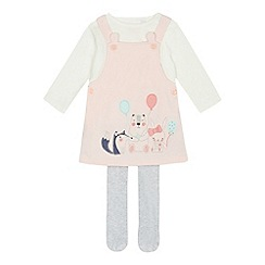 bluezoo - Baby girls' pink animal pinafore set