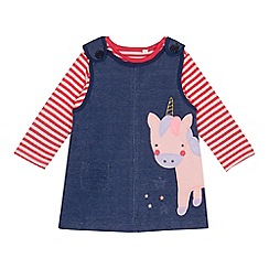 bluezoo - Baby girls' red and white striped unicorn applique dress and top set