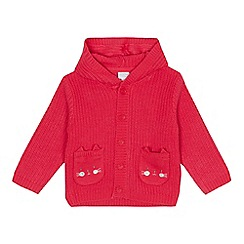 bluezoo - Baby girls' pink cat applique cardigan