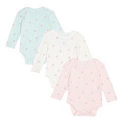 bluezoo - Pack of three baby girls' assorted heart pointelle bodysuits