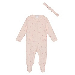bluezoo - Baby girls' pink pointelle sleepsuit with a headband