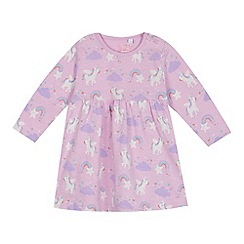 bluezoo - Baby girls' lilac unicorn print dress