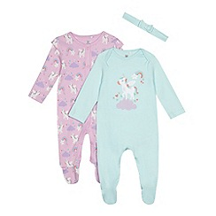 bluezoo - Baby girls' green and lilac unicorn sleepsuits and headband set