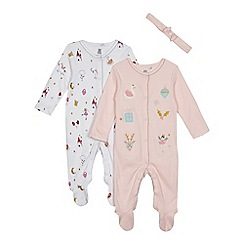 bluezoo - Pack of two baby girls' pink and pink swan sleepsuits and headband set