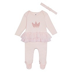 bluezoo - Baby girls' pink 'Little princess' sleepsuit