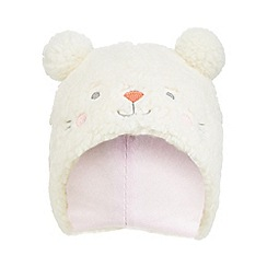 bluezoo - Baby girls' cream borg bear trapper hat
