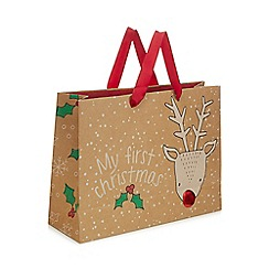 bluezoo - Brown reindeer Christmas gift bag