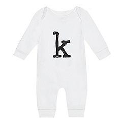 bluezoo - Babies' white 'K' print sleepsuit