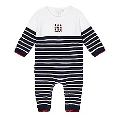 J by Jasper Conran - Baby boys' navy knitted romper suit