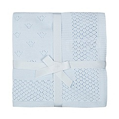 J by Jasper Conran - Babies light blue knitted border blanket