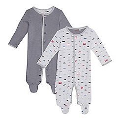 J by Jasper Conran - Pack of two baby boys' assorted car print and striped sleepsuits