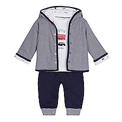 J by Jasper Conran - Baby boys' navy and white striped outfit set