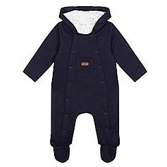 J by Jasper Conran - Baby boys' navy fleece lined all-in-one