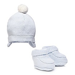 J by Jasper Conran - Baby girls' light blue knitted hat and booties set