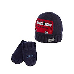 J by Jasper Conran - Babies navy bus applique beanie hat and mittens set