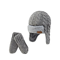 J by Jasper Conran - Baby boys' grey cable knit trapper hat and mittens set