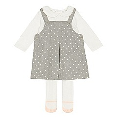 J by Jasper Conran - Baby girls' grey spot print pinafore, top and tights set