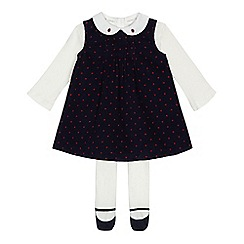 J by Jasper Conran - Baby girls' navy spotted dress, top and tights set