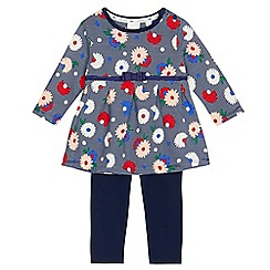 J by Jasper Conran - Baby girls' navy floral top and leggings set