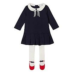 J by Jasper Conran - Baby girls' navy Peter Pan collar dress and tights set