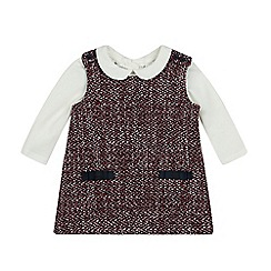 J by Jasper Conran - Baby girls' red and cream woven pinafore and top set
