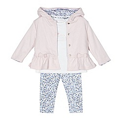 J by Jasper Conran - Baby girls' pink rabbit applique sweater, top and leggings set