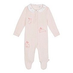 J by Jasper Conran - Baby girls' pink velour bunny embroidered sleepsuit