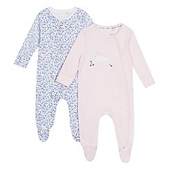 J by Jasper Conran - Pack of two baby girls' navy and pink printed sleepsuits