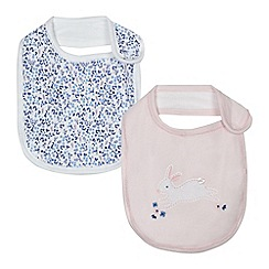 J by Jasper Conran - Pack of two baby girls' pink embroidered bunny and floral print bibs