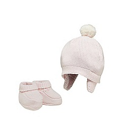 J by Jasper Conran - Baby girls' pink knitted hat and booties