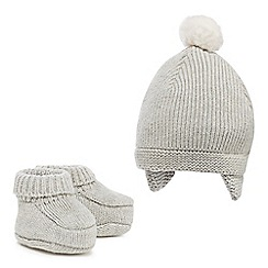 J by Jasper Conran - Babies grey knitted hat and booties set