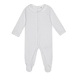 J by Jasper Conran - Babies white star print velour sleepsuit