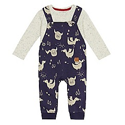 Mantaray - Baby boys' blue jersey bear print dungarees and top set