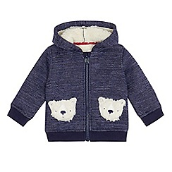 Mantaray - Baby boys' blue teddy bear pocket hoodie