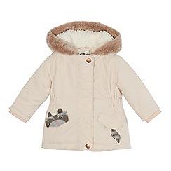 Mantaray - Baby girls' pale pink raccoon pocket parka