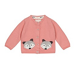 Mantaray - Baby girls' pink raccoon embroidered cardigan