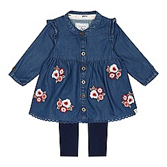 Mantaray - Baby girls' blue denim floral embroidered tunic and leggings set