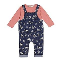 Mantaray - Baby girls' navy horse print dungarees and pink top set