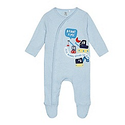 bluezoo - Baby boys' blue 'Daddy & Me' applique sleepsuit