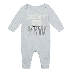 bluezoo - Babies grey 'Shiny & New' sleepsuit