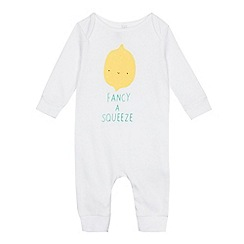 bluezoo - Babies white 'Fancy A Squeeze' sleepsuit