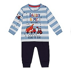 bluezoo - Baby boys' blue 'Daddy & me drive Mummy round the bend' digger print top and navy jogging bottoms se