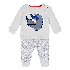 bluezoo - Baby boys' grey Dino quilted top and jogging bottoms set