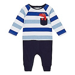 bluezoo - Baby boys' blue stripe mock romper