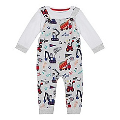 bluezoo - Baby boys' grey jersey printed dungarees and bodysuit set