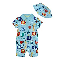 bluezoo - Baby boys' light blue animal print romper suit and sun hat set