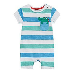 bluezoo - Babies multi-coloured striped crocodile applique romper suit